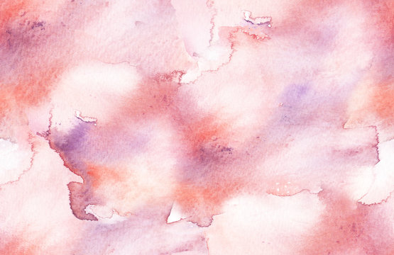 Seamless background pattern with light pink brush strokes and stains painted in watercolor