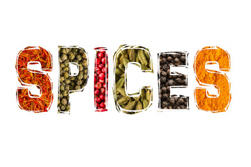 Spice title font with diverse spice photo on white background
