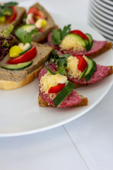Tasty, colorful sandwiches on dark bread with salami and pate decorated with cucumber, peppers, lettuce and yellow cheese on a white porcelain plate