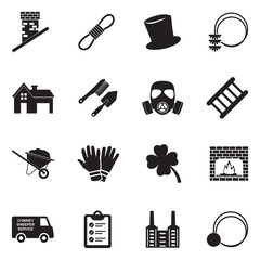 Chimney Sweeper Icons. Black Flat Design. Vector Illustration.