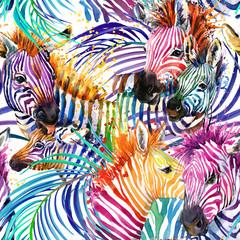 zebra seamless pattern. tropical nature watercolor illustration. safari background