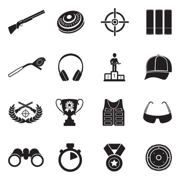 Clay Pigeon Shooting Icons. Black Flat Design. Vector Illustration.