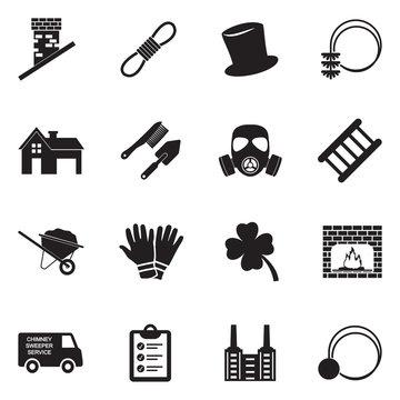 Chimney Sweeper Icons. Black Flat Design. Vector Illustration.