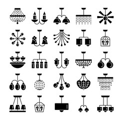 Ceiling lamps & lights. Different types of chandeliers. Set of hanging light fixtures for home and office. Flat icon collection.