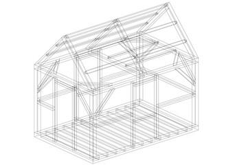 House Construction Architect Blueprint - isolated
