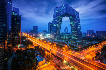 Spoed Fotobehang Peking Night cityscape with bilding and road in Beijing city
