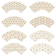 Japanese pattern vector. Fan shape. Gold geometric background.