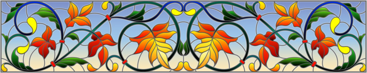 Illustration in stained glass style with abstract  swirls,flowers and leaves  on a sky background,horizontal orientation