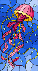 Illustration in stained glass style with abstract pink   jellyfish against a blue sea and bubbles
