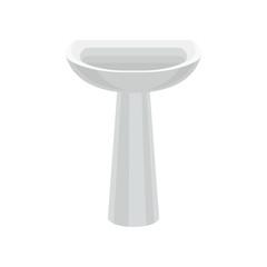 White bathroom ceramic sink vector Illustration on a white background