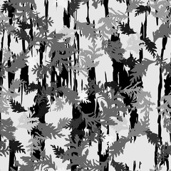 Botanical vector seamless pattern with thuja branches and twigs and abstrac brush stokes background.