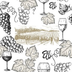 Vector set of vine products. Vector illustration in sketch style. Hand drawn design elements.