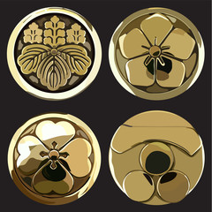 Japanese icons vector. Gold crest symbol. Flower, leaves elements.