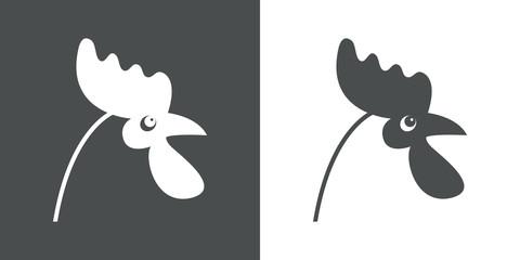 Icono plano cabeza de pollo en gris y blanco