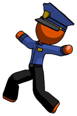 Orange Police Man running away in hysterical panic direction left