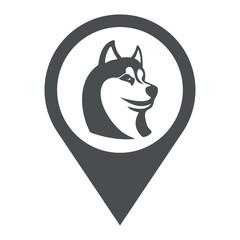 Icono plano localizacion cabeza de husky gris