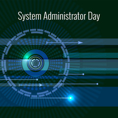 System Administrator Day. 28 July. Abstract techno background. Letters consist of simulating chips.