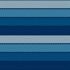 Abstract Striped Knitted Sweater Pattern. Vector Seamless Background with Shades of Blue Colors. Wool Knit Texture Imitation