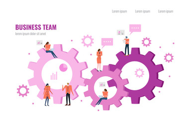 Cloud Working . Business people working on a cloud and gears.  Flat design element. vector illustration