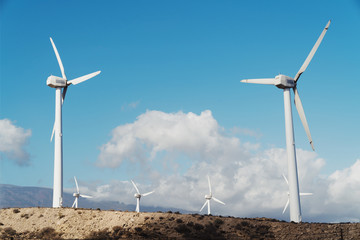 Windmills for electric power production in the mountains in Tenerife, Spain