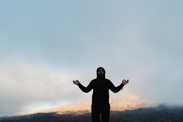 Silhouette of a Man in the mountains
