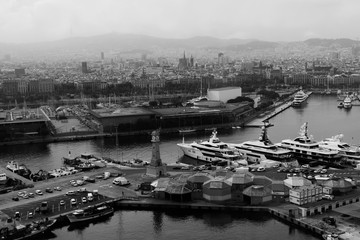 Barcelona, Spain. View from above of the old lighthouse and port. Black and white photo.