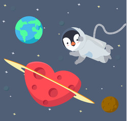 Penguin Astronaut floating in space background