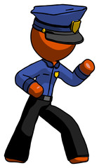 Orange Police Man martial arts defense pose right
