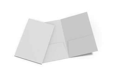 Blank white reinforced A4 single pocket folder on isolated white background, 3d illustration