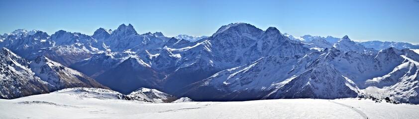 Snowy mountain panorama Mount Elbrus