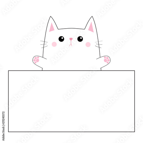 cat face head silhouette hanging on paper board template pink