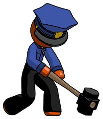 Orange Police Man hitting with sledgehammer, or smashing something at angle