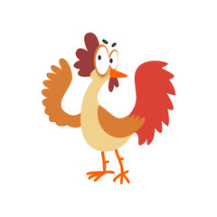 Funny hen, comic cartoon chicken bird character with big eyes vector Illustration on a white background