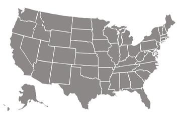 Mapa gris de Estados Unidos de América.