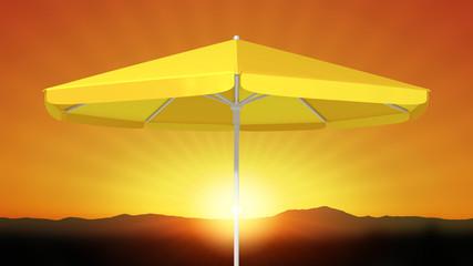 yellow umbrella sunshade sunset