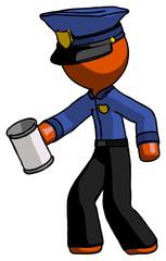 Orange Police Man begger holding can begging or asking for charity facing left