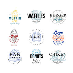 Food logo design set, muffin, waffles, burger, cake, hotdog, pancakes, donut, chiken, ice crem emblems for cafe, restaurant, cooking business, food shop, brand identity vector Illustrations
