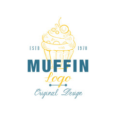 Muffin logo original design estd 1978, emblem for bakery shop, cafe, restaurant, cooking business, brand identity vector Illustration on a white background