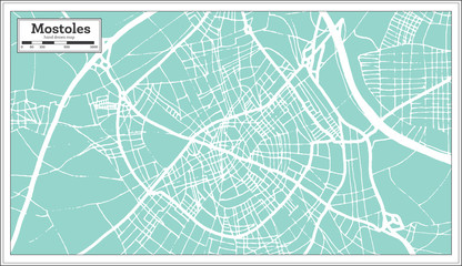 Mostoles Spain City Map in Retro Style. Outline Map.
