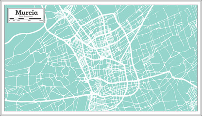 Murcia Spain City Map in Retro Style. Outline Map.
