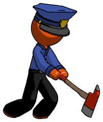 Orange Police Man striking with a red firefighter's ax