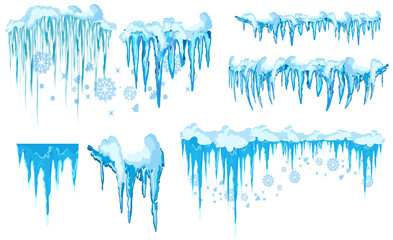 Set of ice caps. Snowdrifts, icicles, elements winter decor. New year decoration kit for website. Isolated snow caps set on menu bar and buttons. Raster Icicles and snowflakes