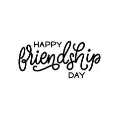 Happy Friendship Day, hand lettering. Vector calligraphic design for greeting card,festive poster etc.