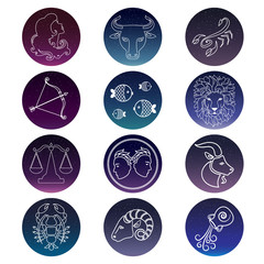 Zodiac signs. Vector set of isolated icons