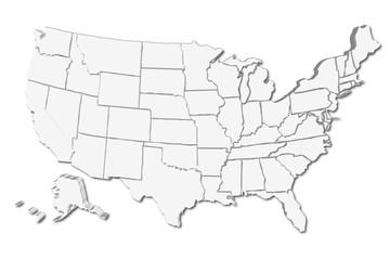 Mapa blanco de los Estados Unidos de América.