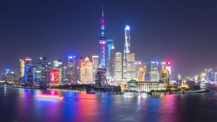 Fotobehang - beautiful shanghai skyline at night