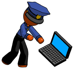 Orange Police Man throwing laptop computer in frustration