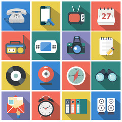 Modern flat icons vector collection with long shadow effect in stylish colors of web design objects, business, office and marketing items