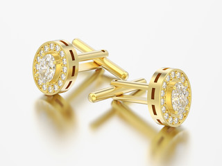 3D illustration two yellow gold metal chrome diamond cufflinks stud