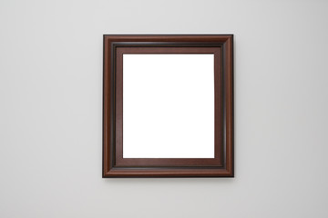 Frame in an interior on a white wall. A frame on isolated.